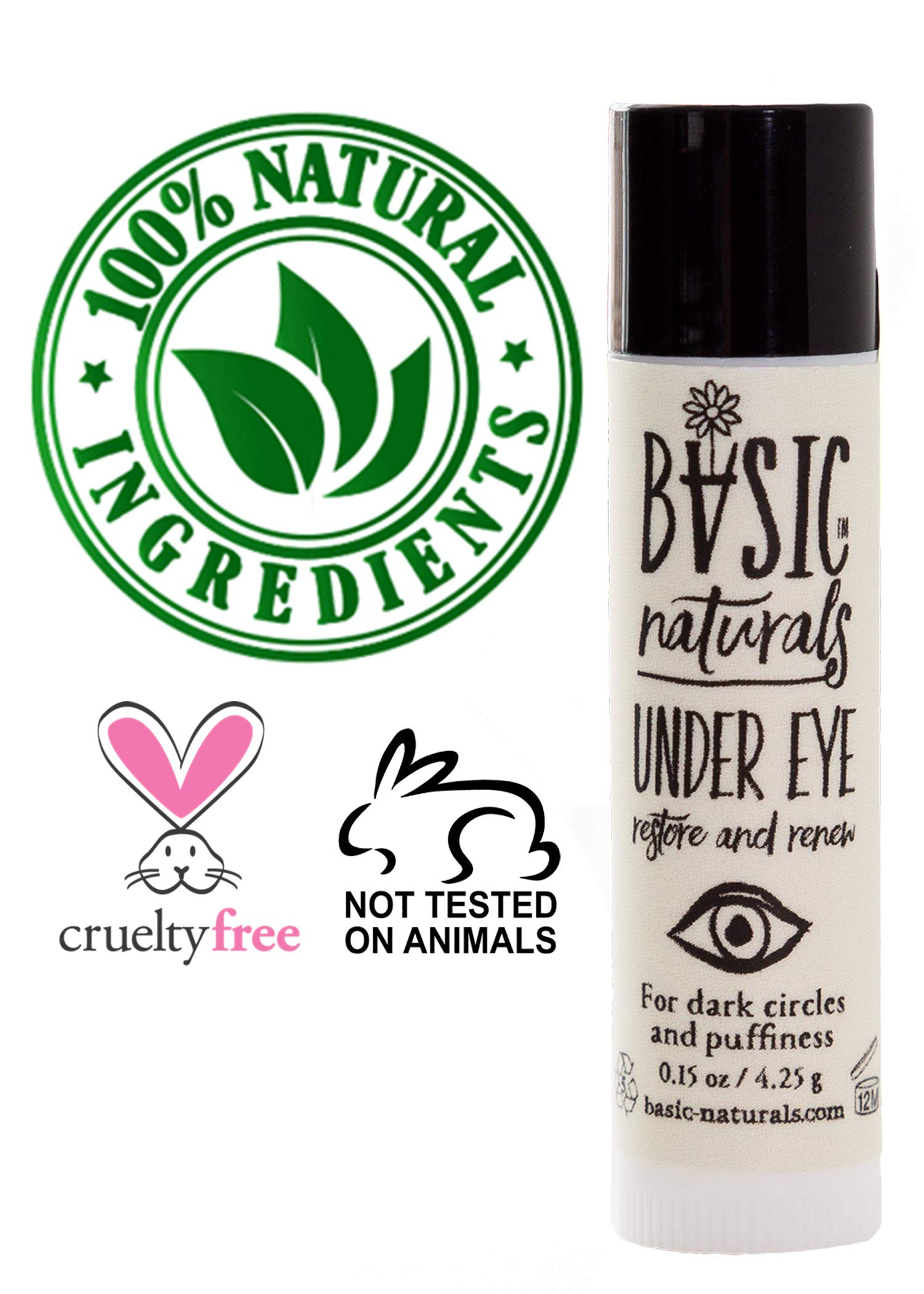 Basic Naturals Organic Daily Eye Serum Reduces Wrinkles, Puffiness, Dark Circles & Under Eye Bags. Organic, Non-GMO (0.35 oz) See Photos