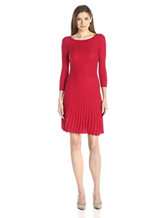 BCBGMAXAZRIA Women's Cable Dress With Ribbing, Rio Red, X-Small