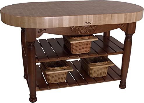 American Heritage Harvest Kitchen Island With Butcher Block Top Base Finish Warm Cherry Kitchen Islands Carts