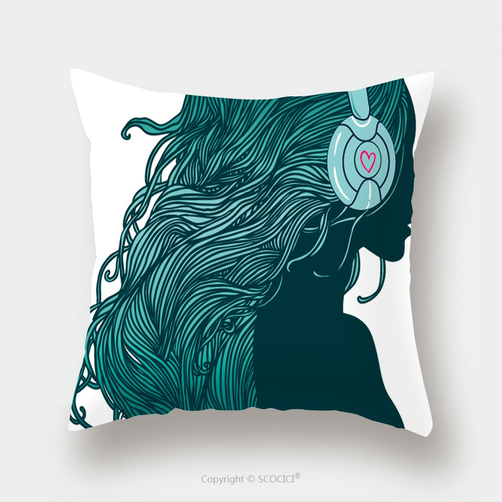 Custom Satin Pillowcase Protector Profile Of Pretty Girl With Long Hair In Headphones 108279221 Pillow Case Covers Decorative by chaoran