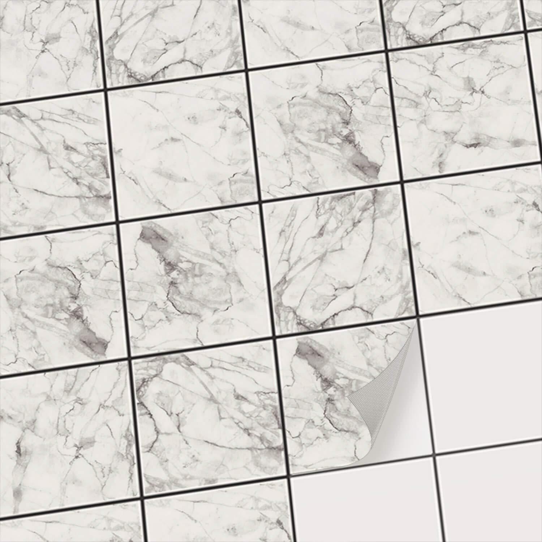 Creatisto Fliesen-Aufkleber Fliesen-Aufkleber Fliesen-Aufkleber Fliesenaufkleber - Klebefliesen I Fliesen-Deko-Sticker für Bad-Fliesen u. Küche Wand-Fliesen Mosaik I 15x15 cm - Motiv Marmor Weiß - 20 Stück B01DA8TZJ0 Fliesenaufkleber 0897db