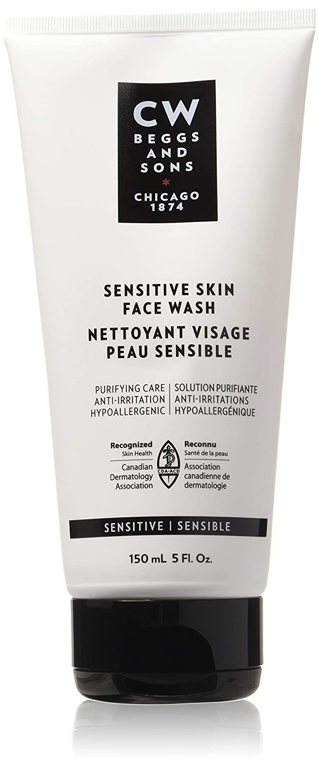 CW Beggs and Sons Sensitive Skin Face Wash for Men, Hypoallergenic and Fragrance-Free, 150 mL CW Beggs & Sons