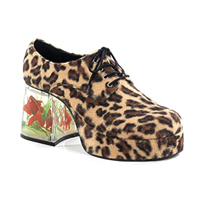 807c8176bd Mens Platform Fish Filled Heel Retro Disco Shoes Cheetah Animal Print 3.5  Inch Size: Small