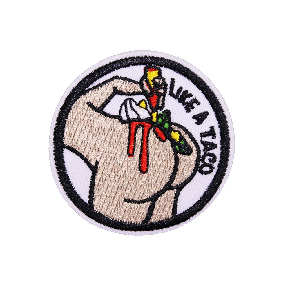 Jeans Pack of 1pc U-Sky Sew or Iron on Patches Like A Taco Letter Patch for Motorcycle Jackets Backpack Size: 2.4x2.4inch Clothes