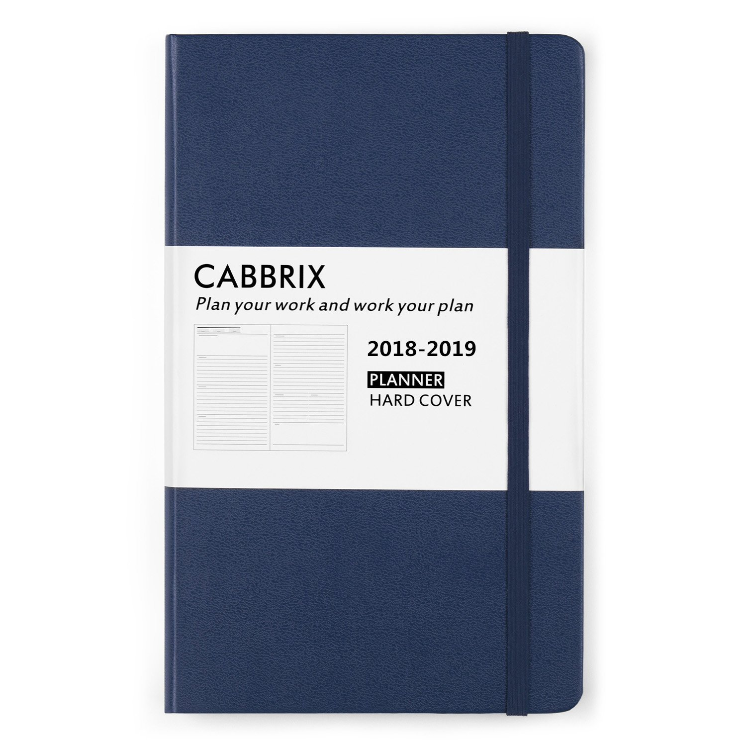 "2018-2019 12 Month Undated Weekly Daily Planner, Cabbrix Sapphire Blue Hardcover Open Flat, 53 Week Journal, 5"" x 8.2"""