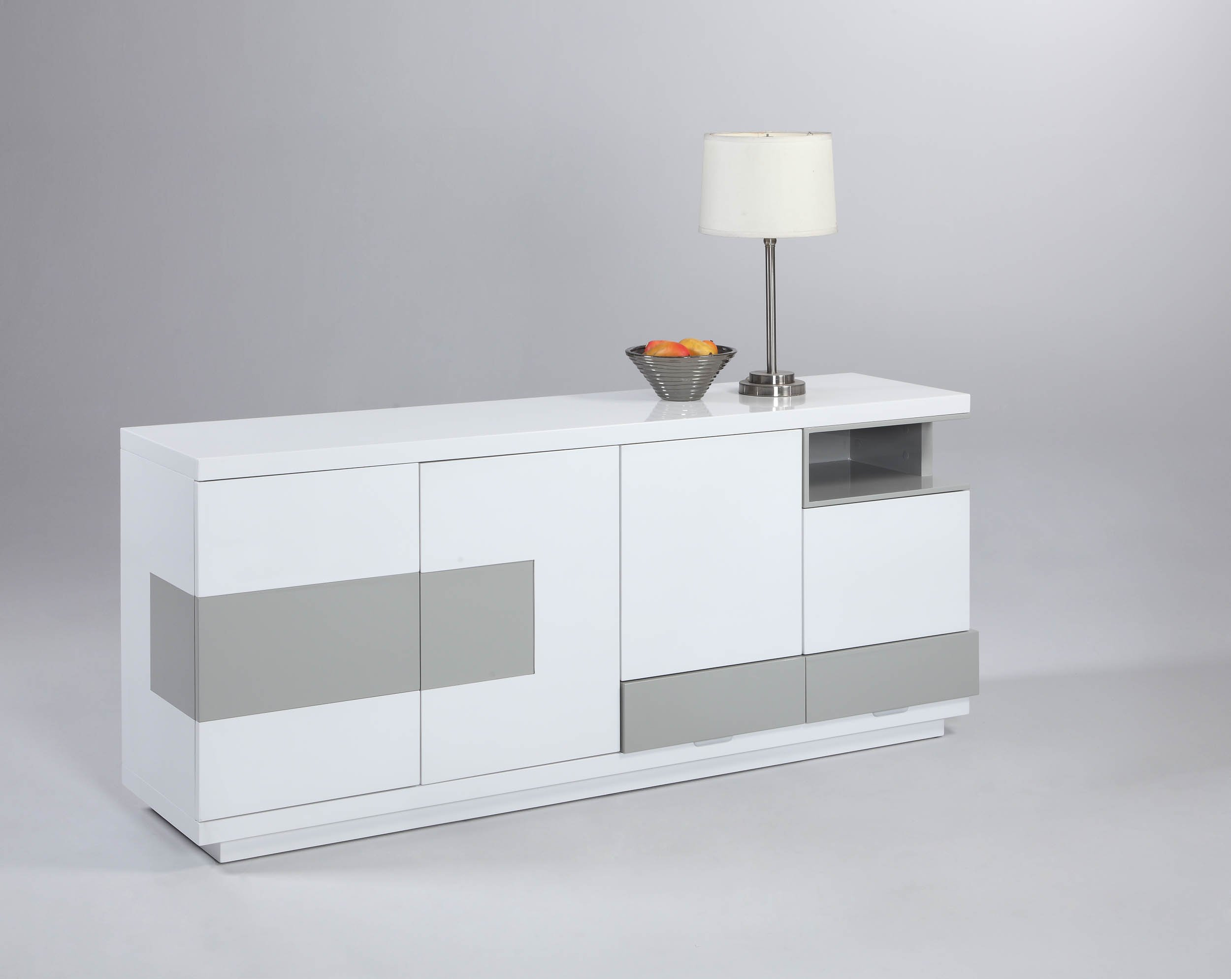 Milan Susanna Gloss White & Gray Modern Four-Door Buffet