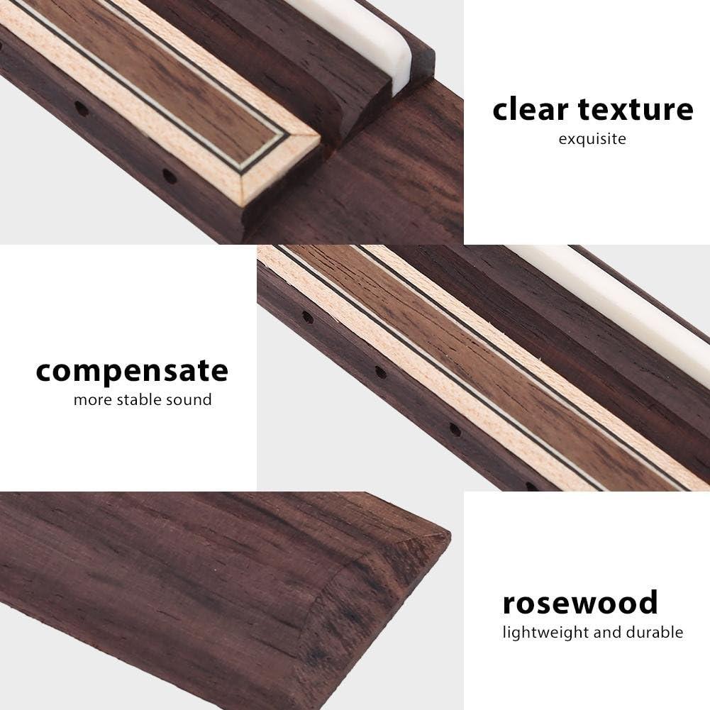 Guitar Bone Bridge Saddle Nut Rosewood Wood Guitar Bridge Set for Classical Guitar Replacement