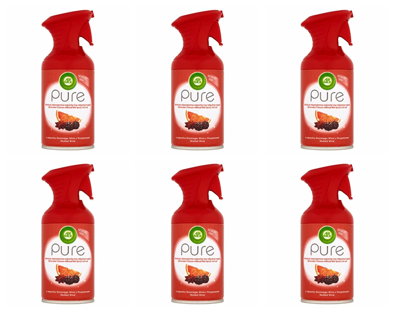 Air Wick Airwick Aerosol Mulled Wine Sun Pure, Premium Pure Air Freshener 6Pack (6x 250ml) Reckitt Benckiser