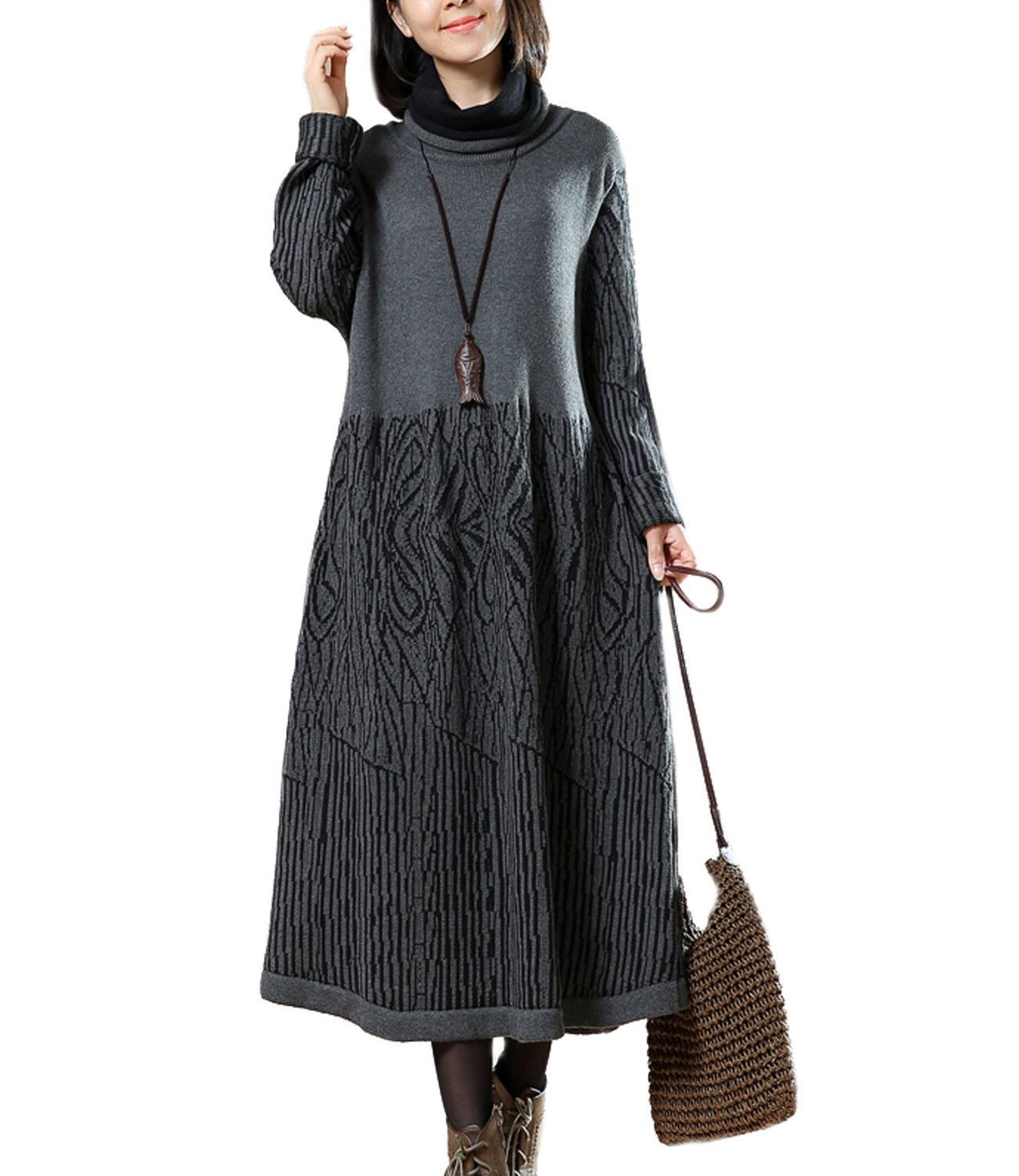 Medeshe Women Winter Turtle Neck Long Sleeve Sweater Knitted Dress (S/M/L, Grey)