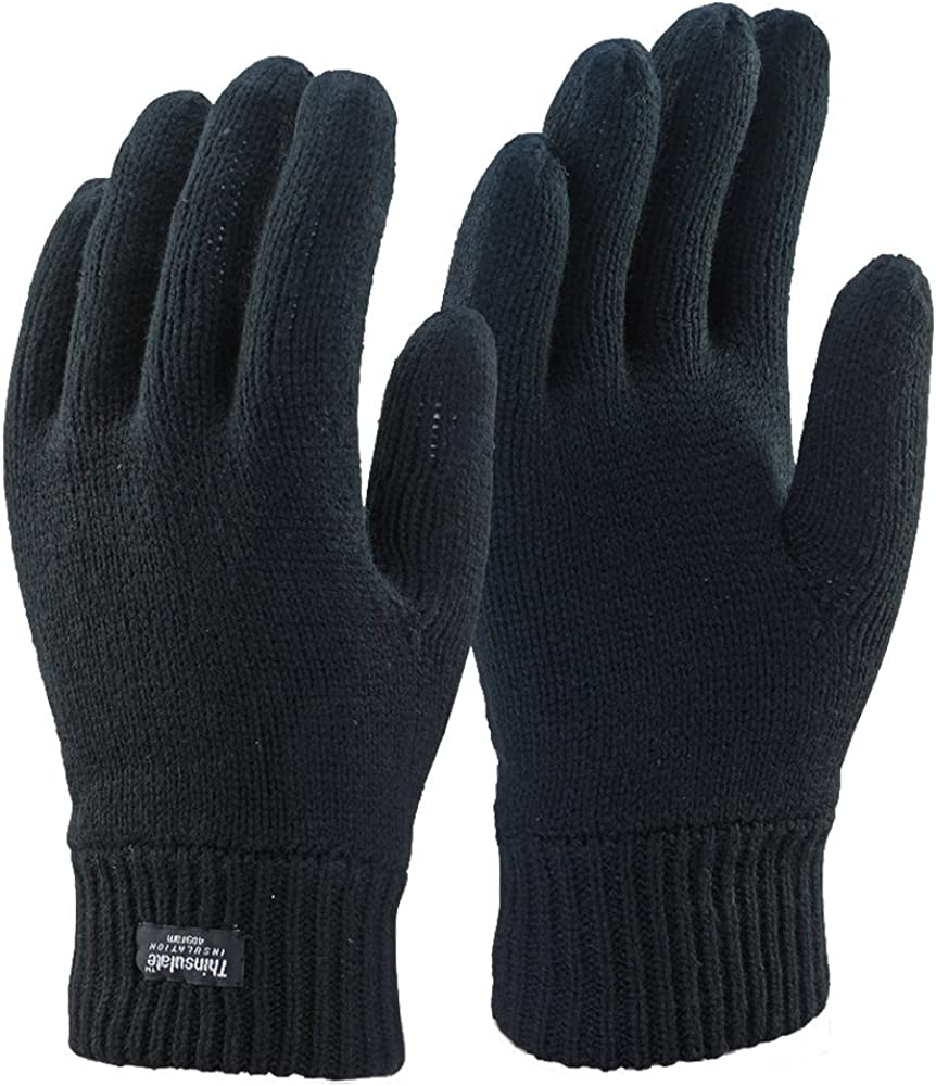 Thinsulate Hat And Gloves Set Thermal Mens Winter Lined Fleece Black