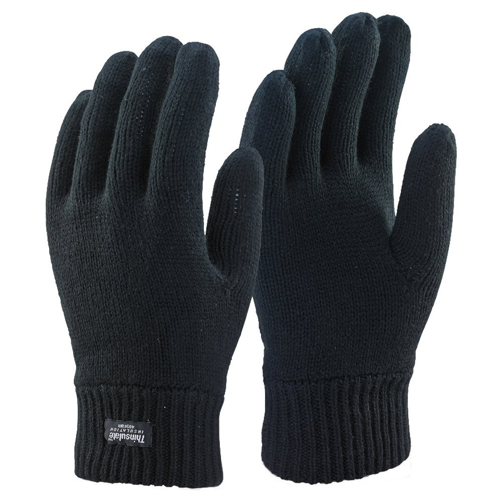 Mens 3m Black Thinsulate Thermal Lined Winter Gloves