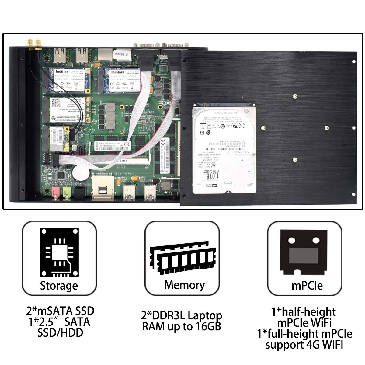 Baieyu® Intel® Core ™ i7-5500U, Computadora sin Ventilador, caché ...
