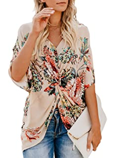 af1c72f14f FARYSAYS Women's Floral Print Short Sleeve V Neck Ruched Twist Tops Loose  Casual Blouse Shirts