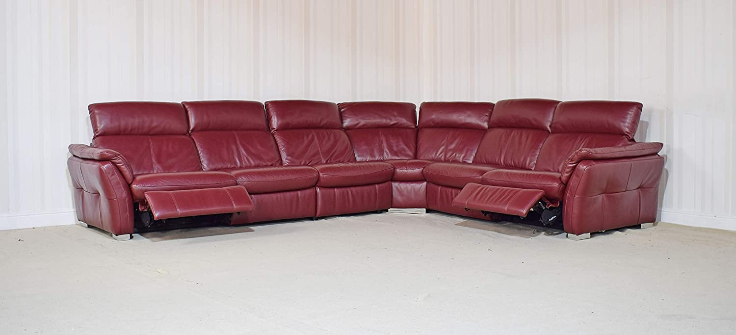 Prime Homeflair Mustang Leather Red 4 Piece Power Recliner Corner Alphanode Cool Chair Designs And Ideas Alphanodeonline