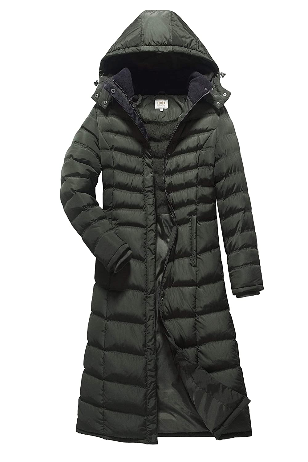 ELORA Women's Full Length Winter Fleece Lined Plus Size Maxi Puffer Coat