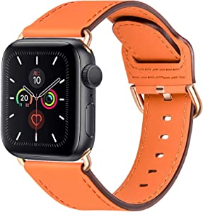 Compatible with Apple Watch Bands 44mm 42mm 40mm 38mm: Genuine Leather iWatch Band for Apple Watch SE Series 6 5 4 3 2 1, Dressy Smartwatch Strap for Women Men(Orange/Rose gold, 42mm 44mm)