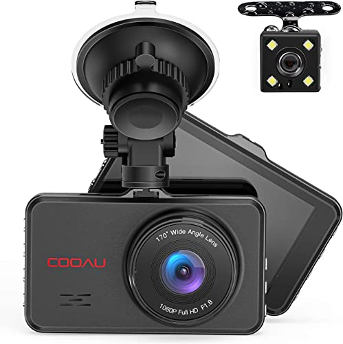 Front and Rear Dual Dash Cam Super Night Vision 1080P Full HD Dashboard in Car DVR Camera with 170 Wide Angle, Parking Monitor, WDR, G-Sensor, Motion Detection, Loop Recording