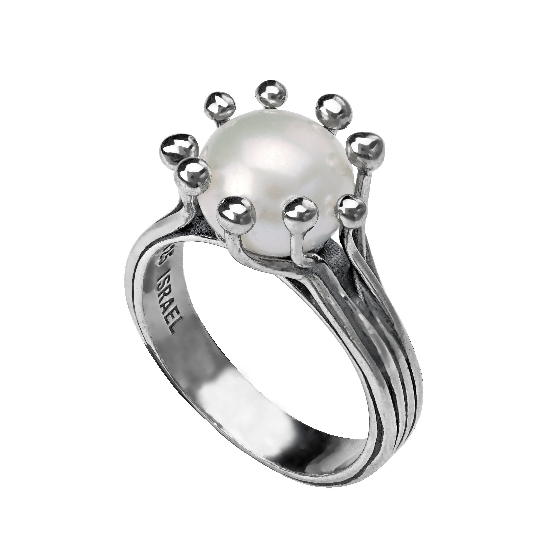 Paz Creations 925 Sterling Silver Cultured White Pearl Ring (7)