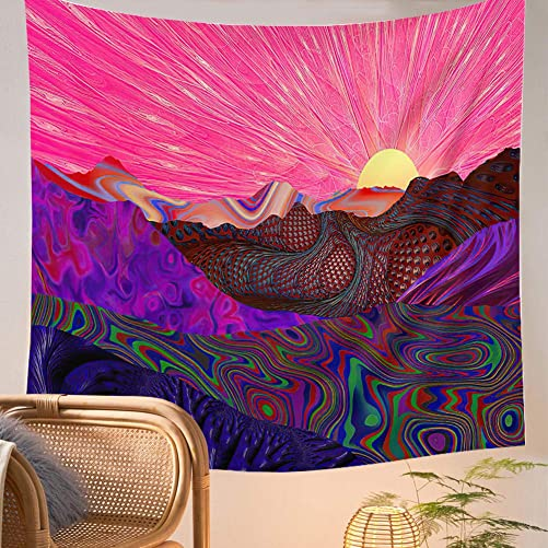 Trippy Mountain Tapestry Psychedelic Sun Tapestry Colorful Mushroom Large Tapestry Hippie Waves Abstract Cactus Tapestry Wall Hanging for Living Room Dorm Party Decor