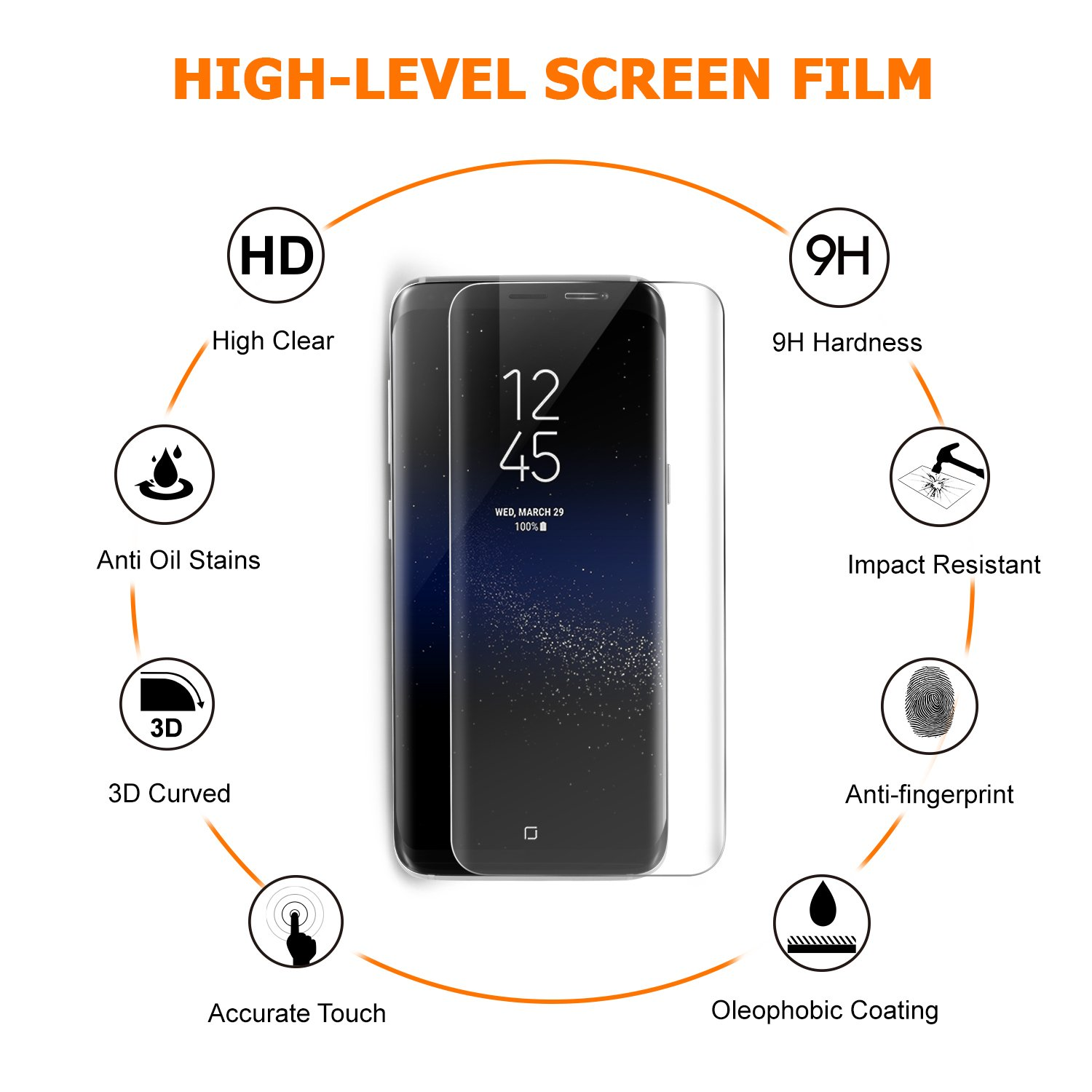 Amazon.com: Amoner Samsung Galaxy S8 Screen Protector, Whole Tempered Glass, 3D Curved, Full Coverage, HD Clear for Samsung Galaxy S8, Transparent: Cell ...
