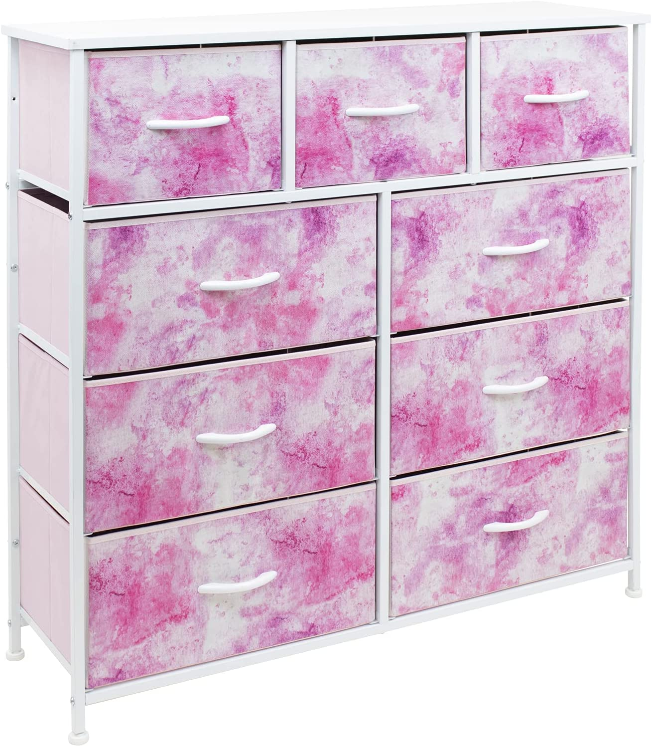 Sorbus Dresser with 9 Drawers - Furniture Storage Chest Tower Unit for Bedroom, Hallway, Closet, Office Organization - Steel Frame, Wood Top, Tie-dye Fabric Bins (9-Drawer, Pink)