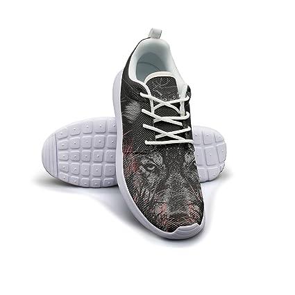 Deer On Wolf Head Design Art Men Lightweight Walking Shoes Casual Sports Running Shoe Fashion