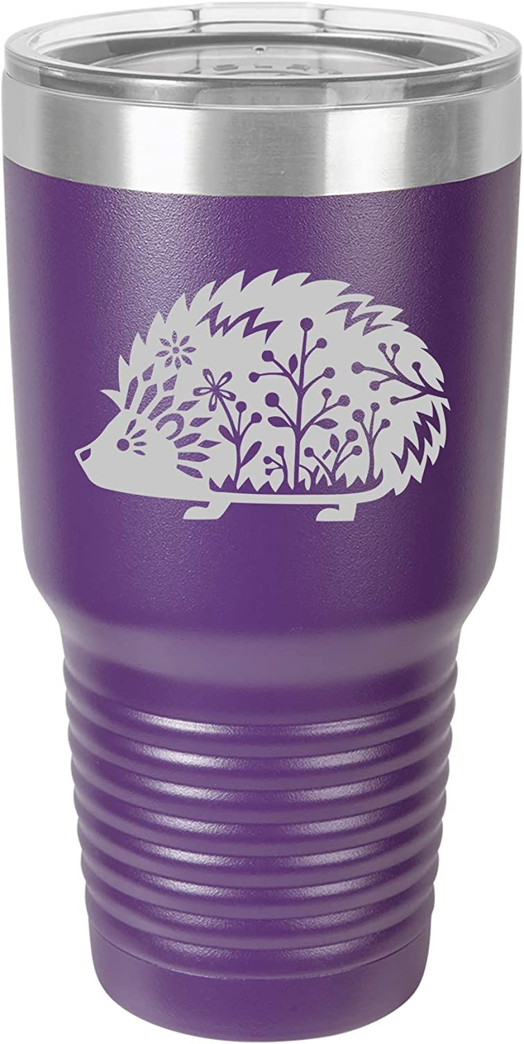Tumbler Stainless Steel Vacuum Insulated Travel Mug Fancy Hedgehog (Purple, 30 oz)