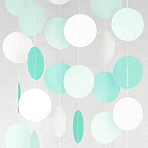Circle Dots Paper Party Garland Streamer Backdrop (10 Feet Long) - Aqua, Mint, Pearl White Glitter