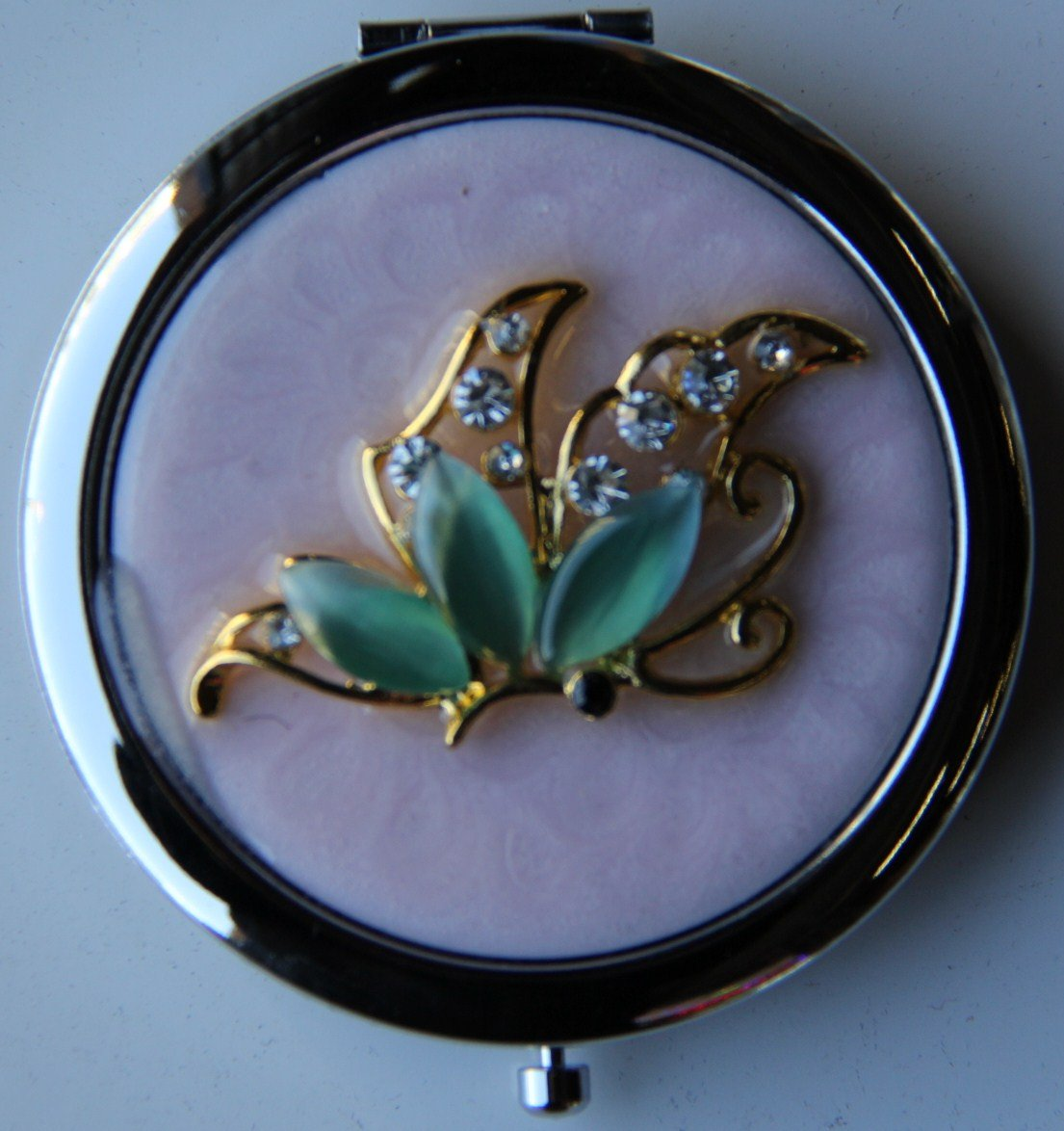 Purse Handbag Double Compact Cosmetic Mirror – Green Jeweled Butterfly