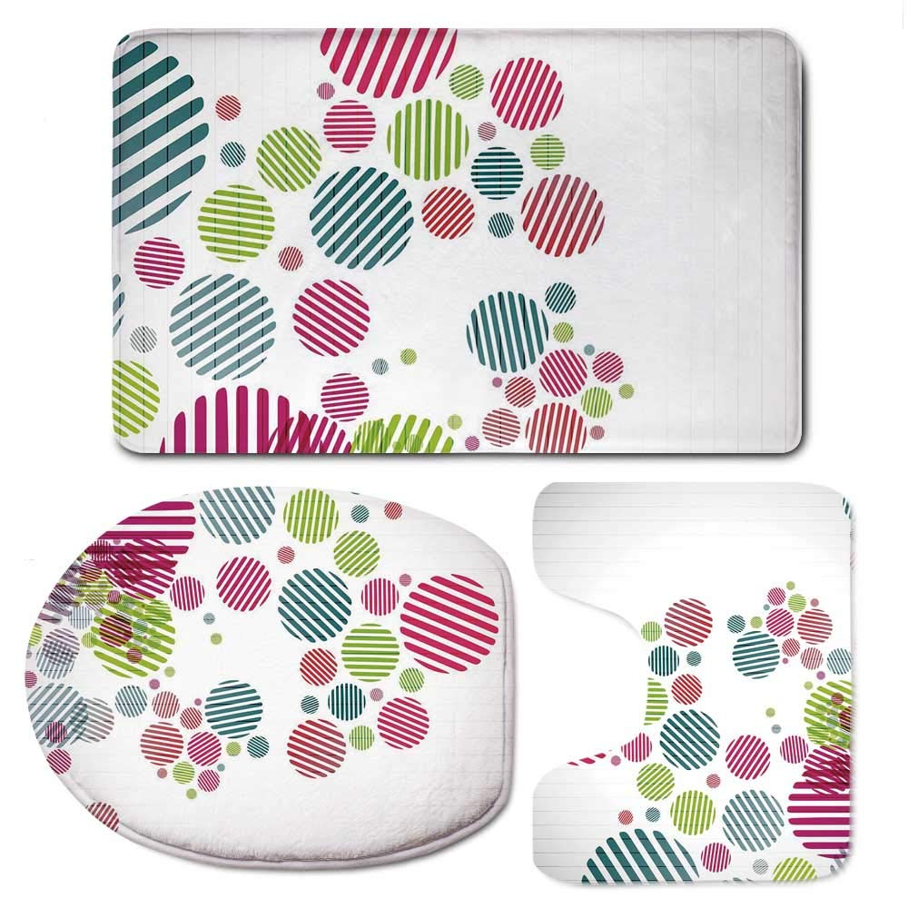 YOLIYANA Colorful Bathroom 3 Piece Mat Set,Abstract Artistic Pattern with Striped Different Colored Spots Dots Cheerful Fun for Indoor,F:20'' W x31 H,O:14'' Wx18 H,U:20'' Wx16 H