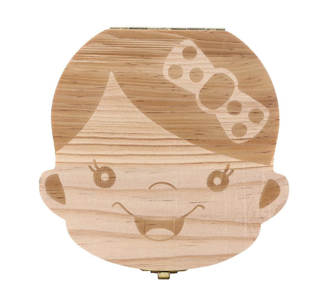 Baby boy girl memory tooth box,Malloom wooden cartoon pattern baby save organizer milk tooth wood storage souvenir box (Boy's) D-013