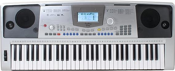 FunKey 61 - Teclado XL (61 teclas sensibles, 128 sonidos, 100 ritmos, MIDI, alimentador de corriente, atril)