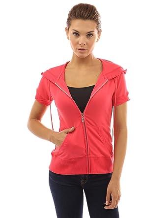 PattyBoutik Women's Hoodie Zip Up Short Sleeve Jacket at Amazon ...