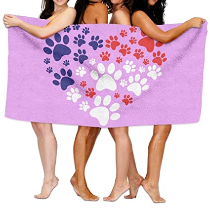 ZengJianSm toalla playa Toallas baño Unisex Cat Dog Paw Prints Heart Beach Towels Washcloths Bath Towels