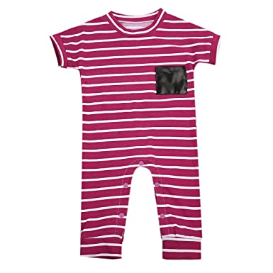 81ca36fe23ea Newborn Baby Girls Red White Striped Causal Romper Jumpsuit Outfit ...
