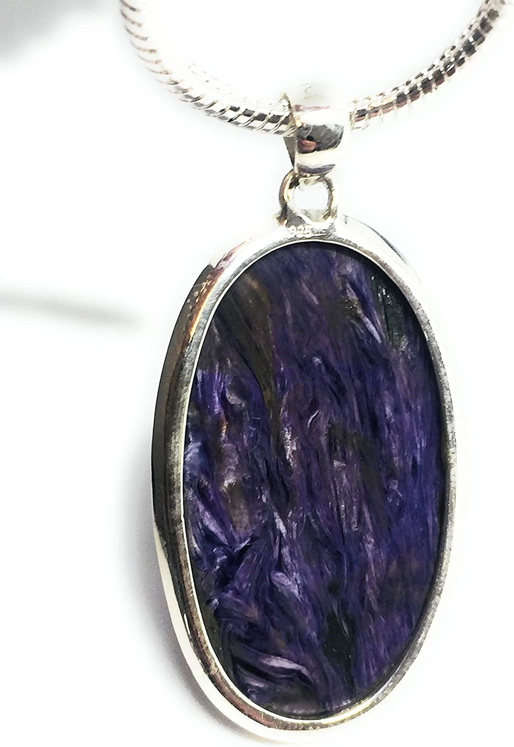 Natural Charoite Purple Pendant Necklace