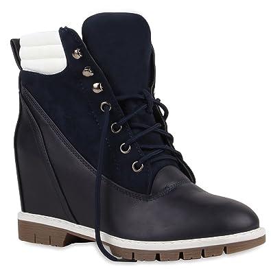 Stiefelparadies Damen Stiefeletten Keilabsatz Keilstiefeletten Profilsohle  Schuhe 108114 Dunkelblau 38 Flandell dcef7cab1e