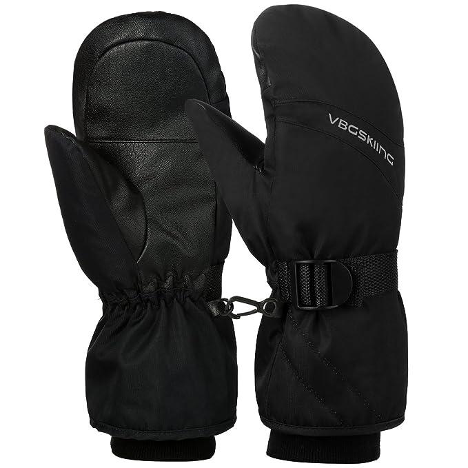 e7c7ec4f2c62 VBG VBIGER Ski Mittens Warm Winter Mittens Waterproof Ski Gloves Snow  Snowboard Gloves Black Cold Weather