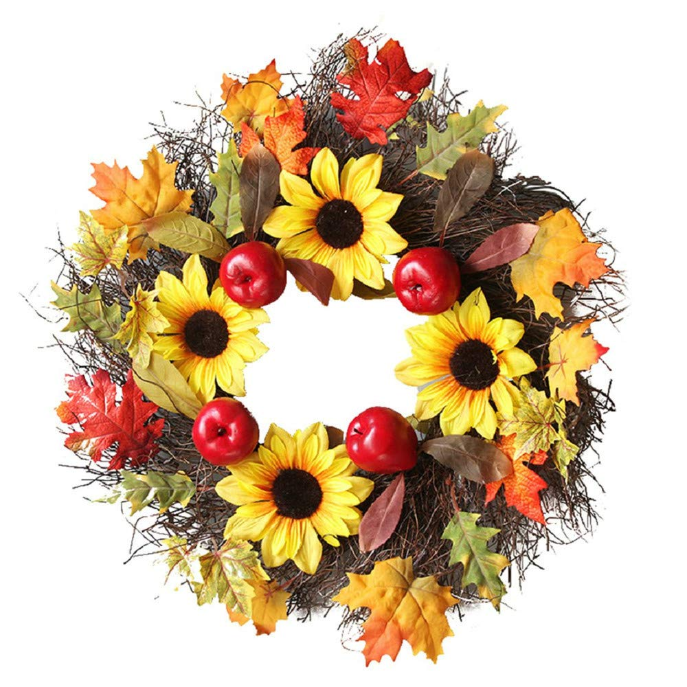 Promisen Rattan Berry Maple Leaf Fall Garland,Wreath Door Wall Ornament Halloween Decoration (Multicolor)