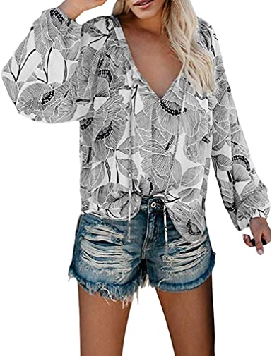 SEWORLD Camisa Camisa Plisada de Manga Larga con Cuello en V ...