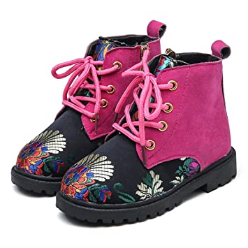 Koly Botines para Niños Winter Nights Botas para Niñas zapatos bebe baratos Chinese style Embroidery Retro Costura Shoes Zapatos Cordones Brogue Niñas ...