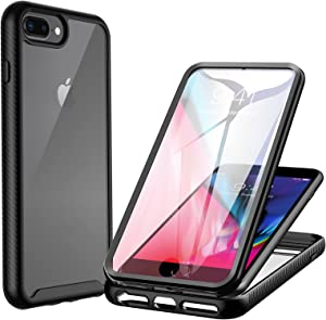 CENHUFO for iPhone 7 Plus/ 8 Plus/6S Plus/6 Plus Case, with Built-in Screen Protector Shockproof Clear Cover 360° Full Body Protective Rugged Bumper Phone Case for iPhone 7 Plus/ 8 Plus/6S Plus/6 Plus
