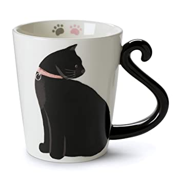 Tri-coastal Design - Taza en Forma de Gato - para Beber Té o Café - Gato Blanco y ...