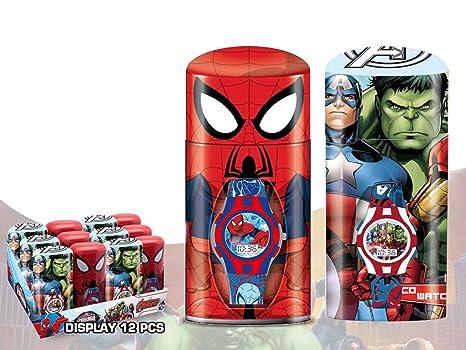 Marvel - Reloj digital con diseno de Los Vengadores y Spiderman, multicolor (Kids MV