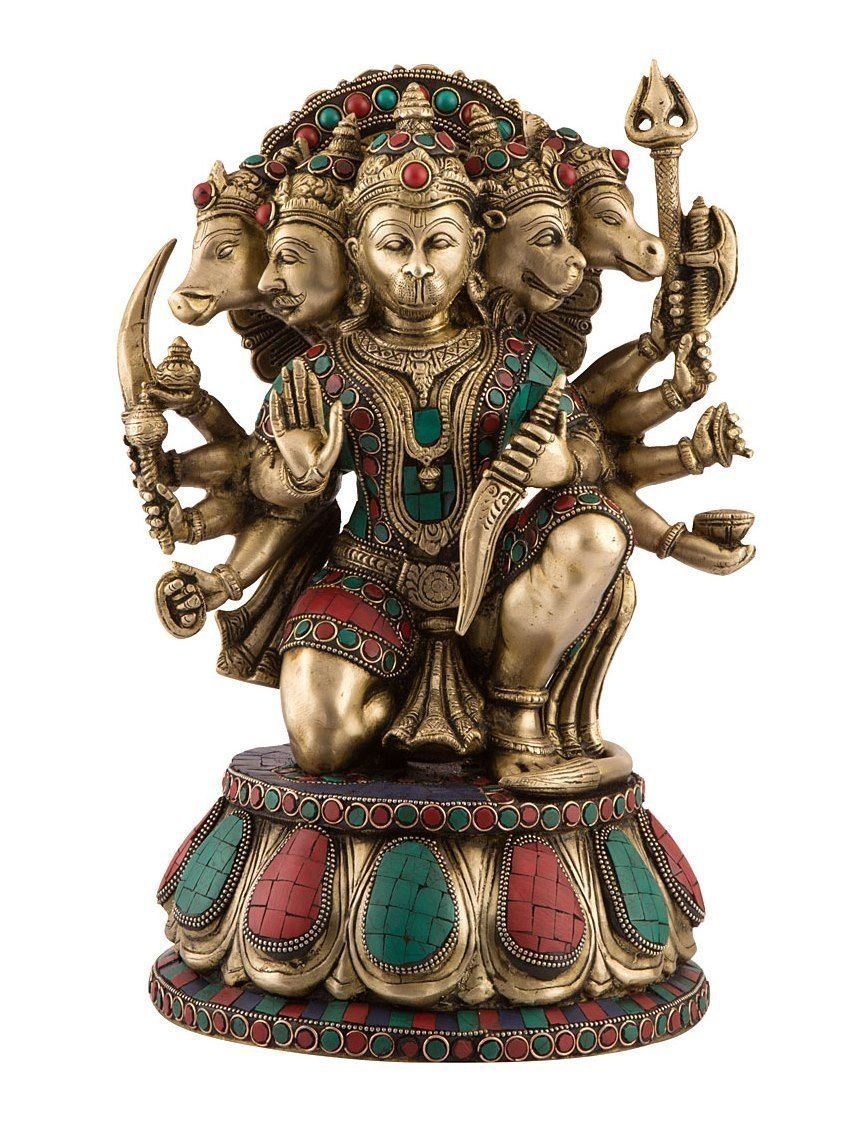 Aone India 1.2 Ft Tall Unique Five Face Hanuman Brass Statue Bajrang Bali Religious Deity (Large 14 Inch) + Cash Envelope (Pack Of 10)