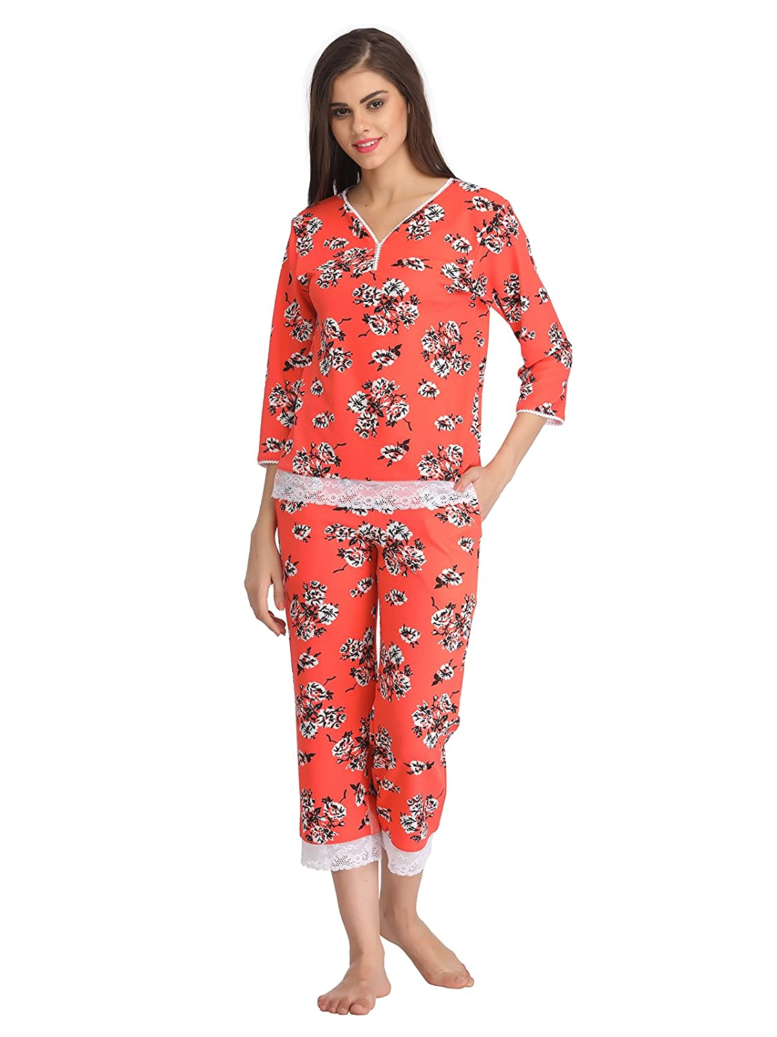 Clovia Floral Print Top and Capri Set With Lace Hem - Orange