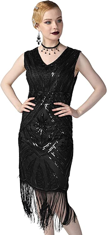 Womens 1920s Black Glam Flapper Girl Costume