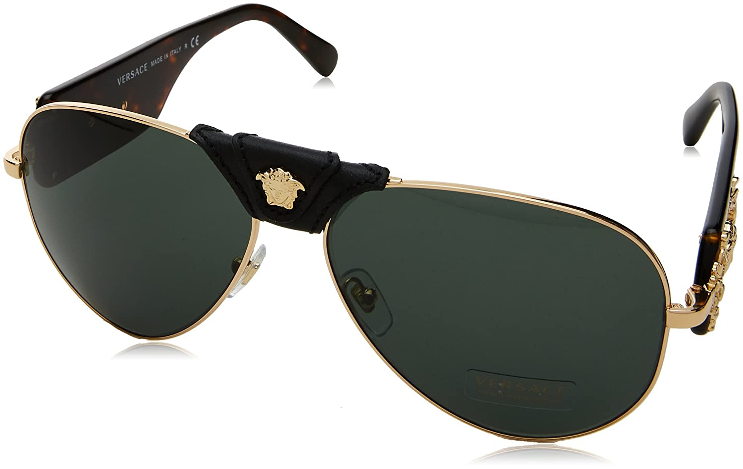 18c8b6180df8 Amazon.com  Versace Mens Sunglasses Gold Grey Metal - Non-Polarized - 62mm   Versace  Clothing