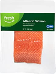Fresh Brand – Atlantic Salmon Skin-On Fillet Portions, 12 oz, Responsibly Sourced (Previously Frozen)