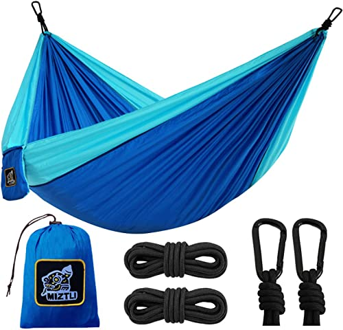MIZTLI Hammock Camping with All The Installations, Portable Lightweight Travel Parachute Hammock, Outdoor, Indoor, Backpacking, Hiking Survival